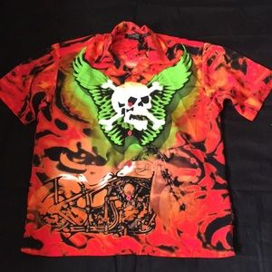 ❤️Dragonfly Skull and Motorcycle Button Down XL